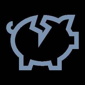 gebroken spaarvarken icoon